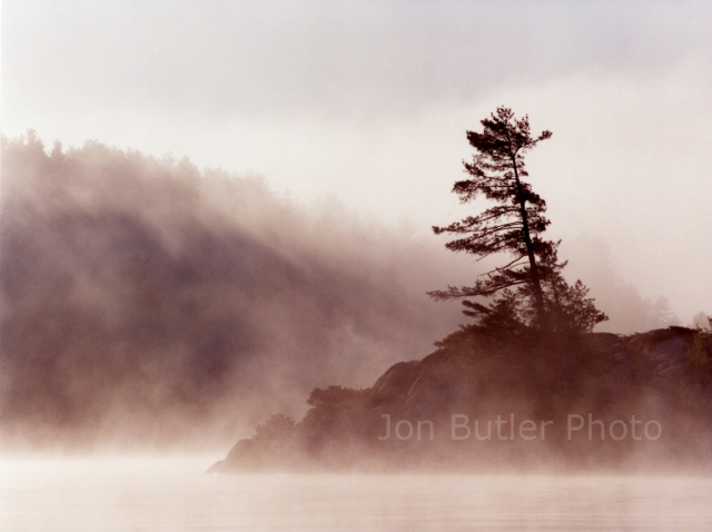 "'Morning Mist' 21"" X 28.5"" Kodak Endura print mounted 31.5"" X 40"" framed Signed, titled, dated & numbered, in ink au verso Edition 5 of 10, $1,200 framed The morning mist and a windswept pine on a  Charlton Lake island."
