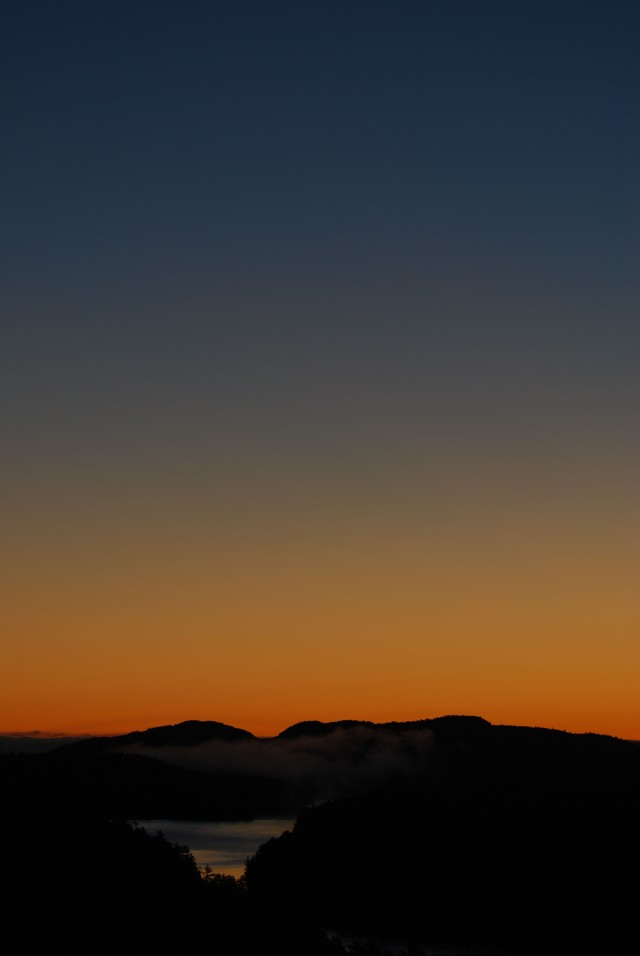Looking east from Willisville Mountain towards Killarney Park before sunrise Oct 25, 2013.